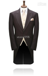 Wholesale Morning Style Groom Tuxedos Groomsmen Chocolate Men Wedding Suits Jacket Pants Tie Waistcoat M108