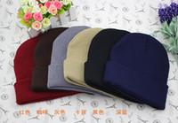Wholesale hot Plain Blank Beanie Knit Ski Cap Skull Hat Warm Solid Color Winter Cuff New