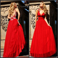 Reference Images V-Neck Satin Sexy 2014 Prom Dresses A-Line Backless Red Deep V-Neck Beaded Appliques Sleeveless Organza Satin Sweep Train Tarik Ediz Evening Gowns BD22