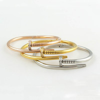 Wholesale Fashion brand L titanium steel CZ stones Nail bangle bracelet punk crystal rhinestone clasp Silver Rose Gold love nail cuff bangle
