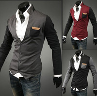 Wholesale 2014 New monde Men s Knitwear Cardigan Slim men s Sweatshirts Collar mixed colors men s Sweater gray