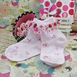Wholesale Wholsale Cute strawberry cotton mesh socks children kids baby socks lace princess ballet socks white color pairs