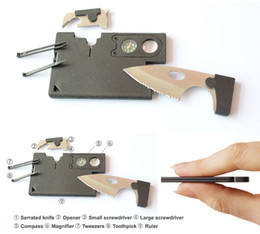 Wholesale 9 IN Knife Card Multi Function Outdoor Portable Tools With Opener Screwdriver Compass Ruler Emergency Survival Best Combination Tool