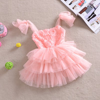 TuTu baby dresses clearance - Clearance Baby suspender dress girl princess dress girl Pink rose bowknot dress gauze dress tutu dress High quality noble dress