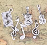 Wholesale MIXED Antiqued Silver Note Music Theme Charms Pendants Jewelry DIY