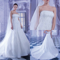 Hot Sale! Elegant 2014 A Line Wedding Dress Strapless Sleeve...