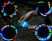 Wholesale 200pcs Full Color RGB SMD Silicone LED Spoke Light Wheel one side display Light patterns Waterproof Slow Speed required Spoke bike