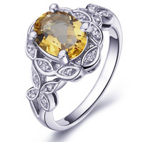 Cheap Flammable volcano genuine natural citrine ring sterling silver jewelry female Korean couple SR0189C