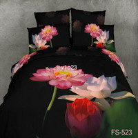 Adult Twill 100% Cotton FS-523 lotus oil printed brand 3D bedding set king Queen Cotton bedclothes Luxurious bed sheet sets unique Quilt Duvet cover