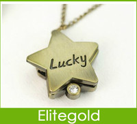 Dress Unisex Quartz 500pcs lot Retro stars-shaped Lucky clamshell pocket watch necklace pendant, DHL SHIP