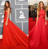 Wholesale Grammy Awards Celebrity Dresses Prom Dresses With Rihanna Red Chiffon Halter Ruffles Ruched Zipper Back Court Train Sku C004