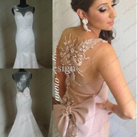 2014 Sexy Sheer Crew Neck Mermaid Wedding Evening Dresses Il...