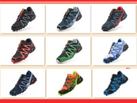 Wholesale 2014 Christmas Promotion Salomon Brand Running Shoes Mesh Material Solomon Men Sport Shoes Salomon Speedcross CS Skiing Shoes Lace up