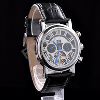 Wholesale Luxury Gentle Man Men s Black Tourbillon Automatic Mechanical Leather Band Function Watches