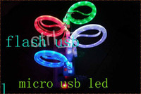 Wholesale Visible LED Micro USB V9 Flat Charger Cable For Samsung S3 S4 htc z1 Flashing Noodle Rubber Cords m ft Sync Data Charging Adapter cable