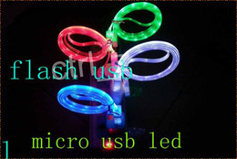 Wholesale Visible LED Micro USB V9 Flat Charger Cable For Samsung s6 s6 s Flashing Noodle Rubber Cords m ft Sync Data Charging able