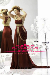 Wholesale Pleat Bodice Beading Pearls Middle East Mermaid Burgundy Prom Dresses Runway Gold Embroidery Crystals Arabic Evening Dresses BO1742