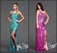 Wholesale 2014 Sparkle jade fuchsia baeding One shoulder Crystal Evening dress Heigh slit Mermaid Sleeveless Decorated Prom Dresses