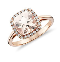 Wholesale 18k rose solid gold ring certificate natural Morganite diamond jewelry wedding setting engagement women ring factory direct XBLR008