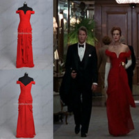 Wholesale Julia Roberts Red Evening Prom Dresses in Pretty Woman Actual Images Factory Cheap Real Samples Off Shoulder Chiffon Celebrity Gowns