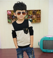 best quality t shirts wholesale - Korean Fashion Boys T Shirt Pure Cotton Pocket Best Quality Children Long Sleeve Tshirt Kids T Shirts Baby Topwear QZ381