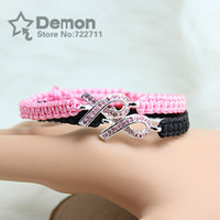 Charm Bracelets Women's Alloy bracelets for women 2013 silverprevention of breast cancer Pink ribbon charms braiding pave link bracelets wholesale