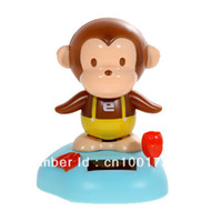 2-4 Years Multicolor Metal Free shiping!Solar Power Head Shaking Monkey Doll Toy
