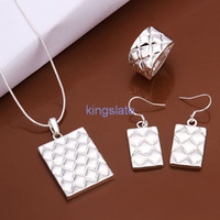Wholesale TOP SELL Christmas gift fashion sterling silver pretty smooth Ring Necklace Earring set fashion Jewelry S454
