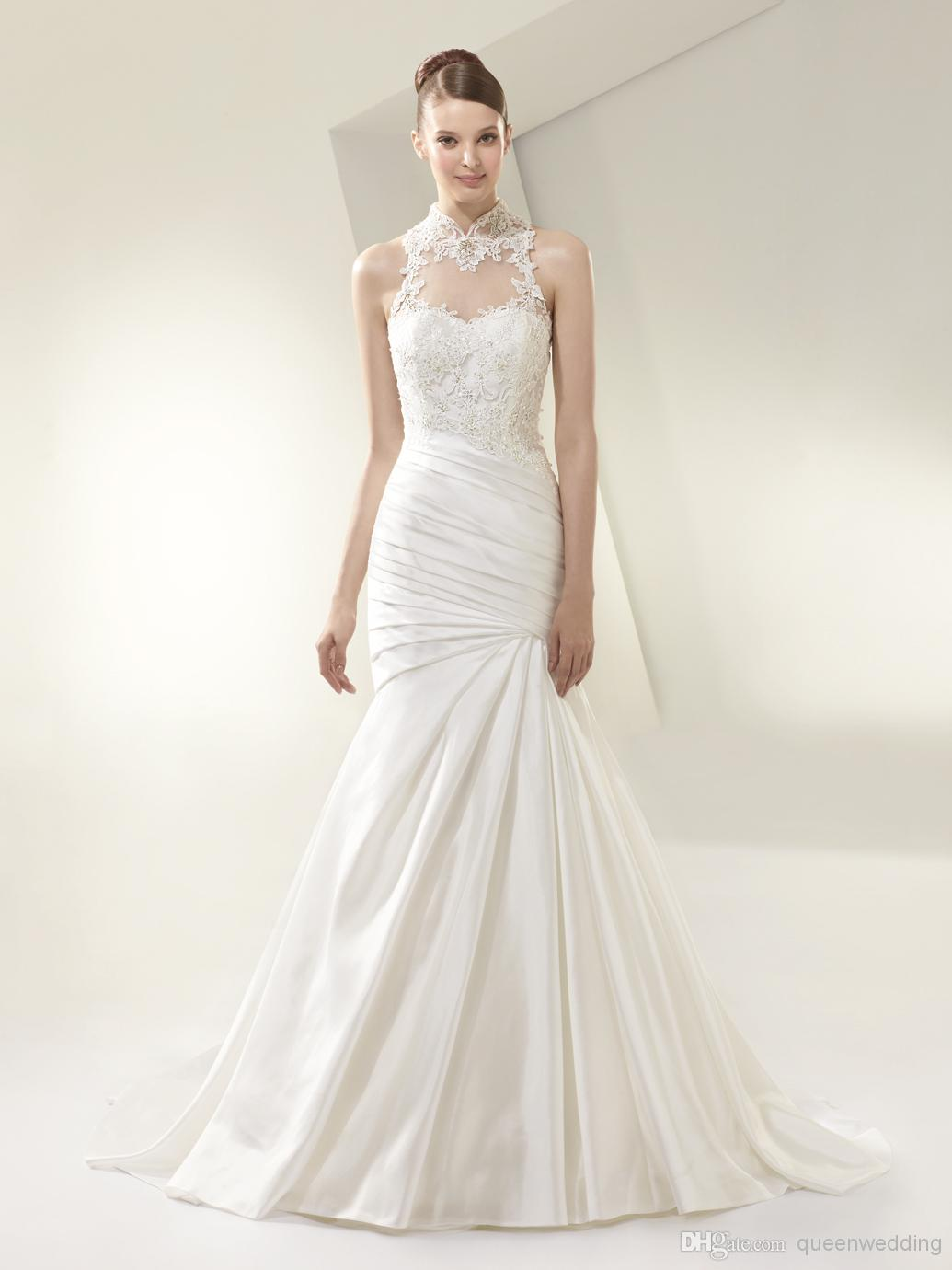 New Fashion Elegant Mermaid Bridal Gown High Neck Sheer