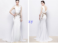 Sheath/Column Reference Images V-Neck 2014 Spring Wedding Dresses Sheath Column V Neck Sweep Brush Chapel train Lace Applique Stretch satin Garden Wedding Dresses With Beading