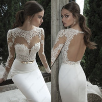 Wholesale 2014 Hot Mermaid Wedding Dresses Exquisite Satin See Through Long Sleeves Lace Covered Key Hole Backless Gorgeous Bridal Gown