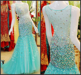 Wholesale Best Selling Design Fashion Beaded Mermaid High Collar Tulle Party Floor Length Prom Dresses Pageant Gowns Xi8