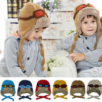 Wholesale New Children s Hats vintage Pilot styles Pile coating Thicken woolen yarn knitting Knitted wool Ear Care Cap Hat From Age