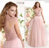 Reference Images High Neck Tulle Tarik Ediz 2014 Spring Summer Prom Dresses Formals Pageant Evening Gown With Capped Sleeve Pink Sheer Back See Through High Neck Beads 1453