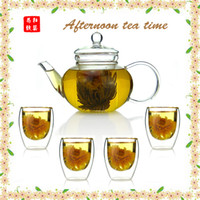 Wholesale heat resisting glass tea set ml glass teapot with the filter pc ml double wall glass cup