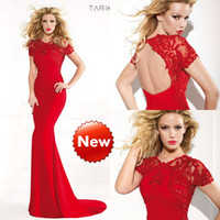 Reference Images High Neck Satin Tarik Ediz 2014 Spring Summer Formals Party Pageant Prom Dresses Evening Gown With Short Sleeve Red See Sheer Backless Mermaid Appliqued
