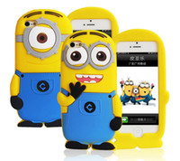 Wholesale 3D Cute Minions Despicable Me2 Case Soft Silicone Cartoon Back Cover Smile Big Eye minions for iphone S S
