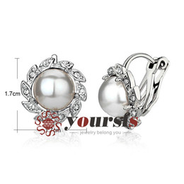 Yoursfs Women Fashion Wedding Gift Earrigs Used Crystal 18 K White Gold Plated Flower pearl Statement Clip on Earrings Gorgeous Jewelery