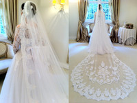 Wholesale Vintage White Ivory Long One Layer Bridal Veil Cathedral Length Tulle Lace Applique Edges Wedding Veil