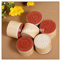 Wholesale 6x Assorted Wooden Rubber Stamp Round Shape Handwriting Floral Flower Craft Desk Accessories Set