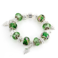 Beaded, Strands Women's Party NEW Arrival Free Shipping NEW Fashion Silver Plate Jewelry Europeanstyle Beads Bracelet Green Murano Glass Beads Gift for Women