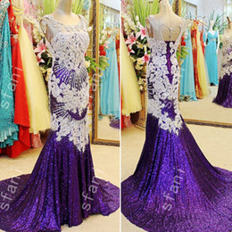 Best Selling 2018 Amazing Beaded Crystal Sweetheart Cap Sleeves Purple Evenings Pageant Dresses Prom Dresses Sweep Train