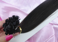 black straight 1.0g New arrival fashion #1b fusion FLAT TIP hair extension 4pcs lot 18-28inches IN STOCK high quality Indian virgin human hair FREE SHIPPING