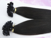 Brazilian Hair Black Straight Hot sale #1b off black prebonded flat tip hair extension 100% Indian virgin human hair 3pcs lot 18-28inches mixed length FREE SHIPPING