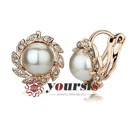 Yoursfs Fashion Christmas Gift Use Austrian Crystal 18 K Gold Plated Flower Pearl Clip on Statement Earrings For Women Wedding Gift Jewelry