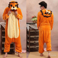 Anime Costumes Unisex Animal Wholesale - Onesie Lion Unisex Adult Animal Costume Jumpsuit Hoodie Pajama Kigurumi Cosplay