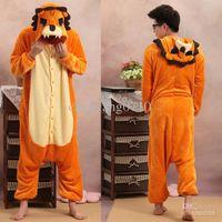 Anime Costumes Unisex Animal Wholesale - Onesie Lion Unisex Adult Animal Costume Jumpsuit Hoodie Pajama Kigurumi Cosplay