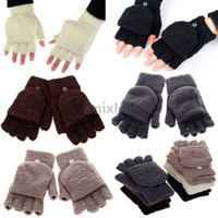 Wholesale Fashion Warm Velvet Flip Gloves Solid Color Fingerless Gloves Keyboard Gloves Unisex Winter Half fingers Gloves CW20021
