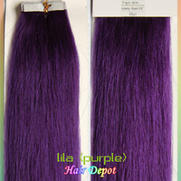 remy tape hair extensions wholesale - quot quot lila purple Tape Human Hair Extensions g g silky soft Straight Tape in Hair Extension Remy free ChinaPost