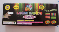 Wholesale Top quality Rainbow Bracelet Loom Loom Band Kit box bands Clips bracelets loom kit Hook Loom tool and hook